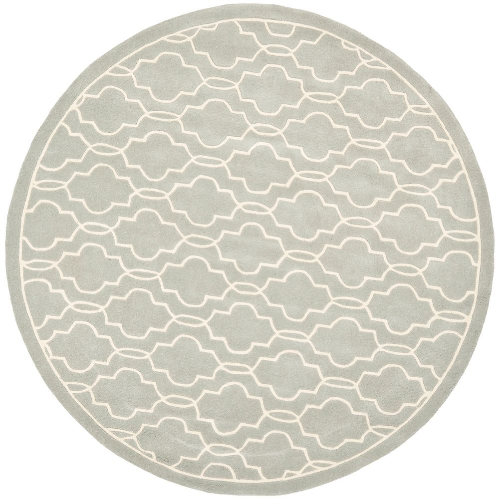 Safavieh Chatham Pascal Grey / Ivory 5 ft. x 5 ft. Indoor Round Area Rug