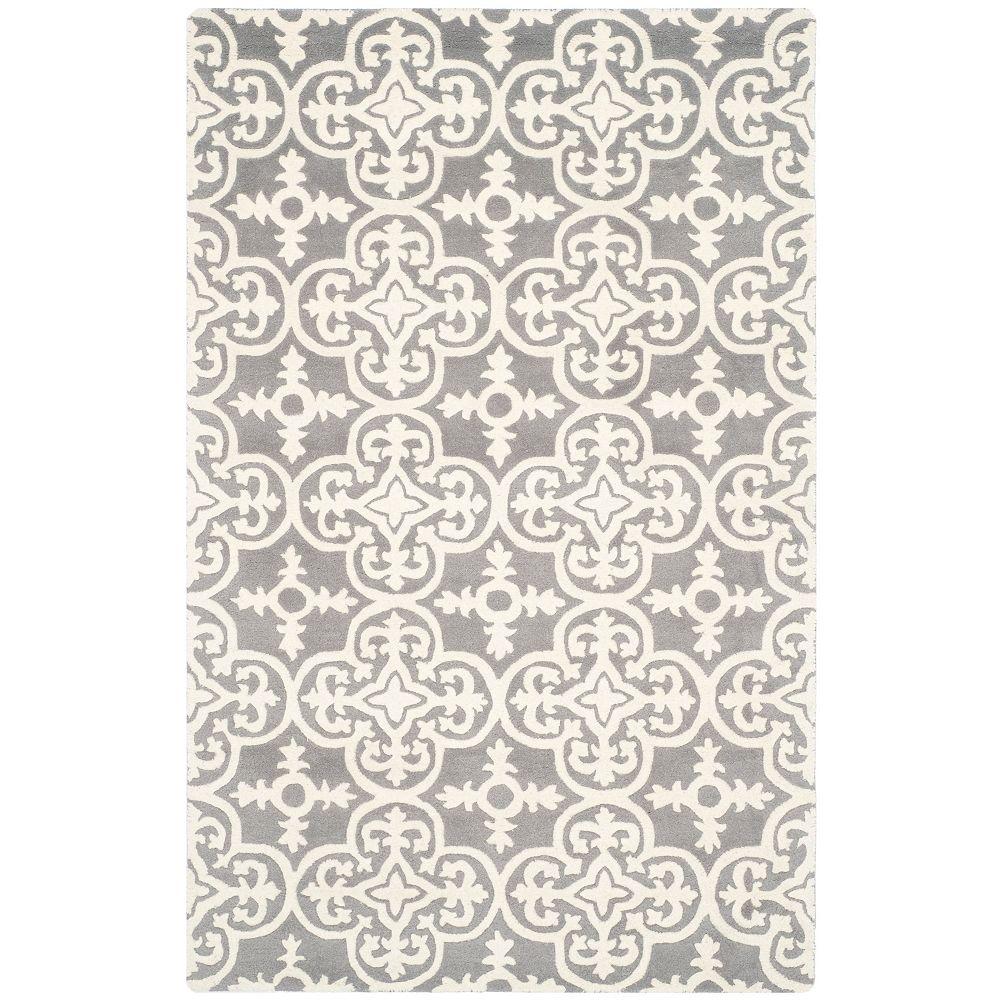 Safavieh Tapis d'intérieur, 8 pi x 10 pi, Chatham Abbot, dark gris / ivoire