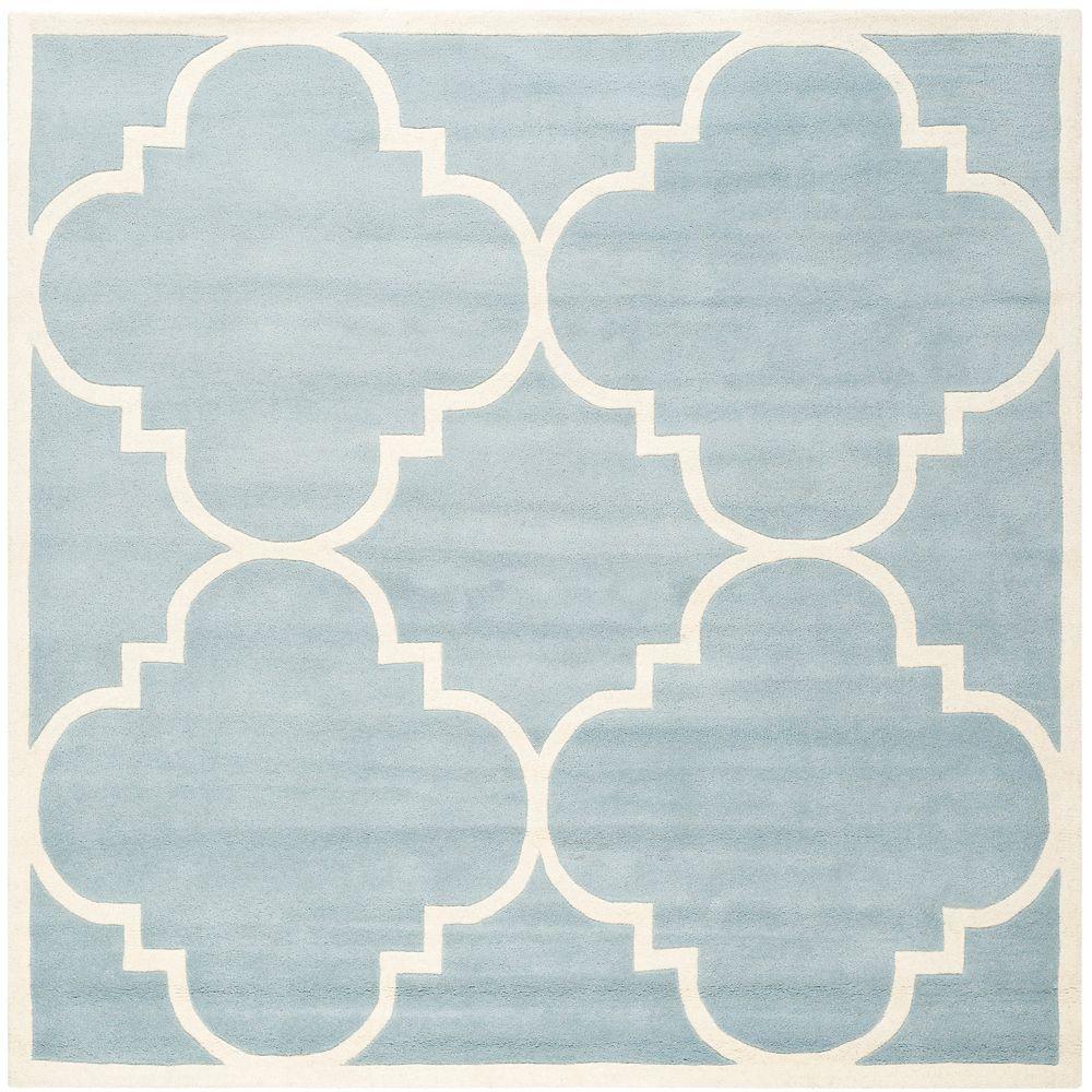 Safavieh Tapis d'intérieur carré, 4 pi x 4 pi, Chatham Abe, bleu / ivoire