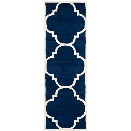 Safavieh Chatham Abe Dark Blue / Ivory 2 ft. 3 inch x 5 ft. Indoor Runner