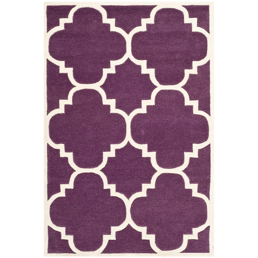 Safavieh Chatham Abe Purple / Ivory 4 ft. x 6 ft. Indoor Area Rug