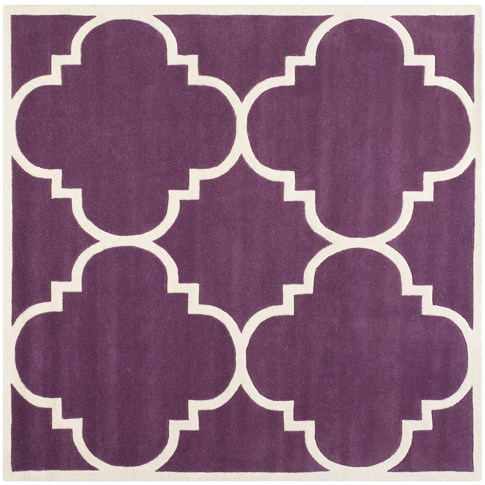 Safavieh Chatham Abe Purple / Ivory 8 ft. 9 inch x 8 ft. 9 inch Indoor Square Area Rug
