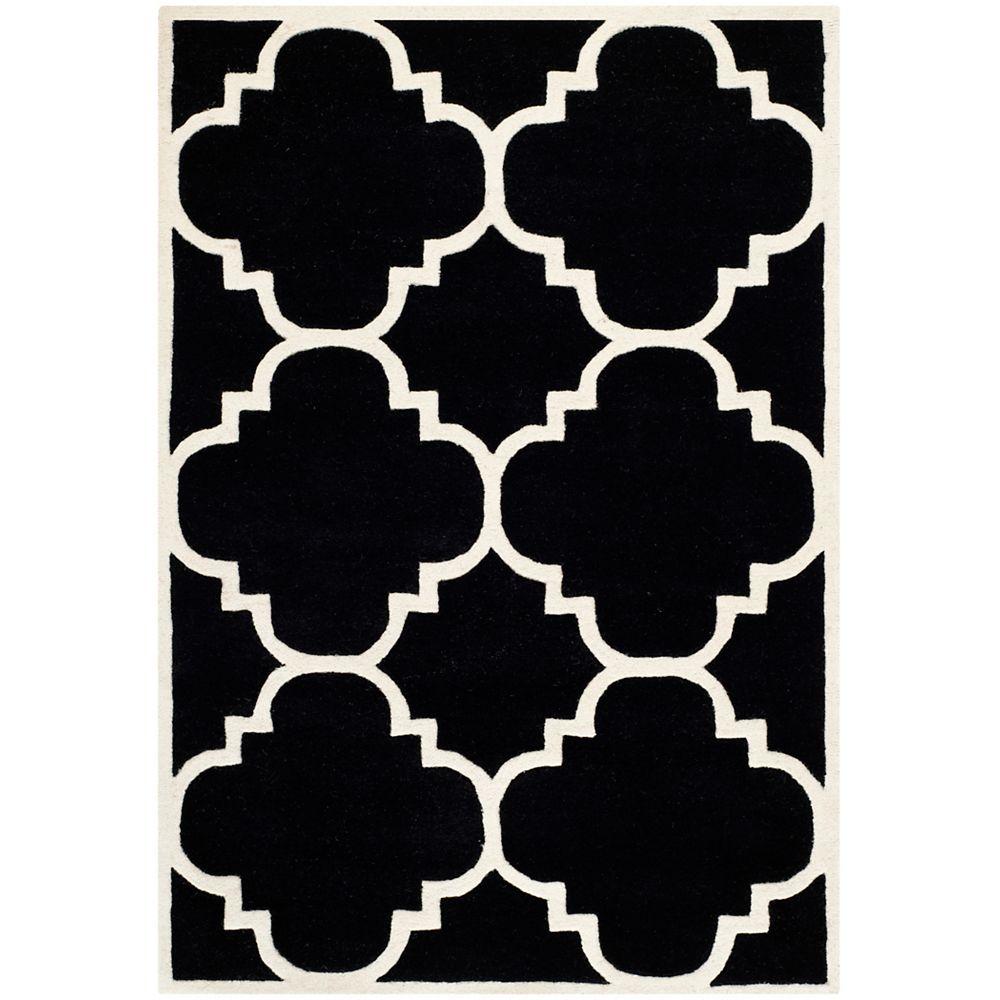 Safavieh Tapis d'intérieur, 4 pi x 6 pi, Chatham Abe, noir / ivoire