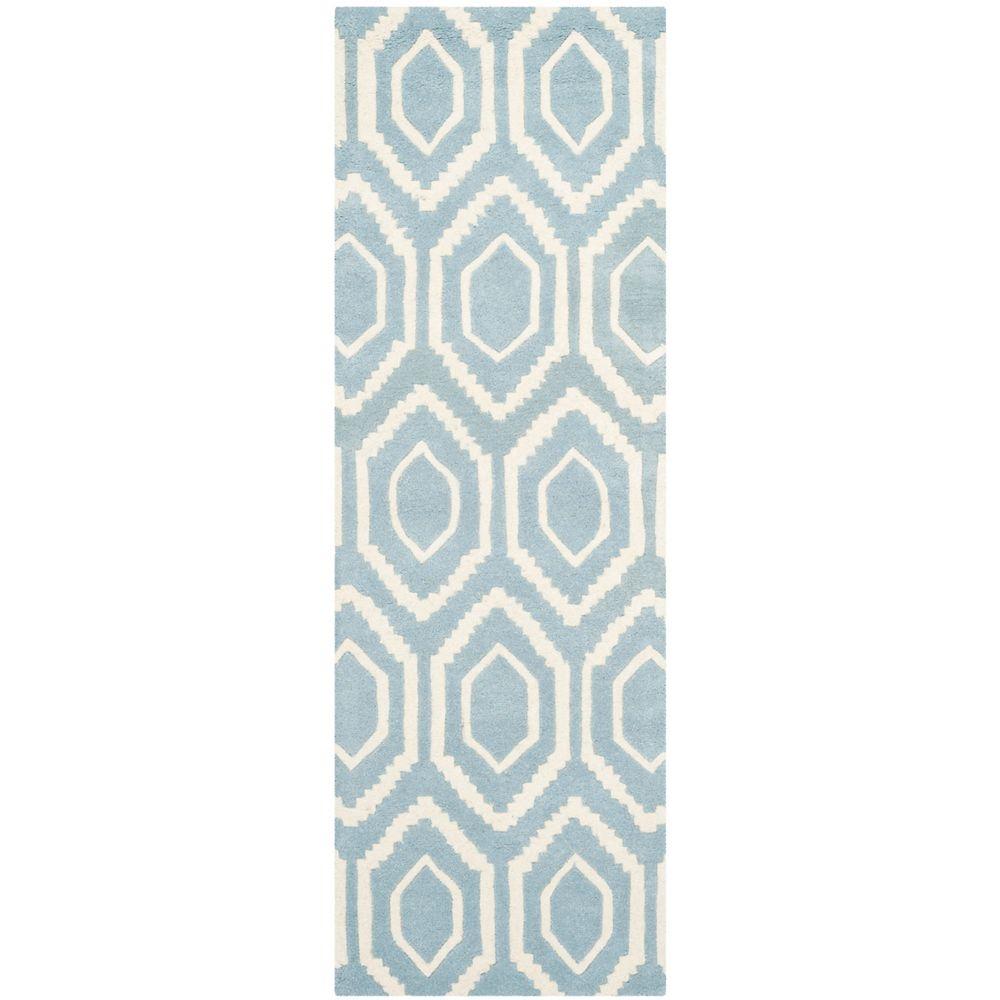 Safavieh Tapis de passage d'intérieur, 2 pi 3 po x 9 pi, Chatham Beau, bleu / ivoire