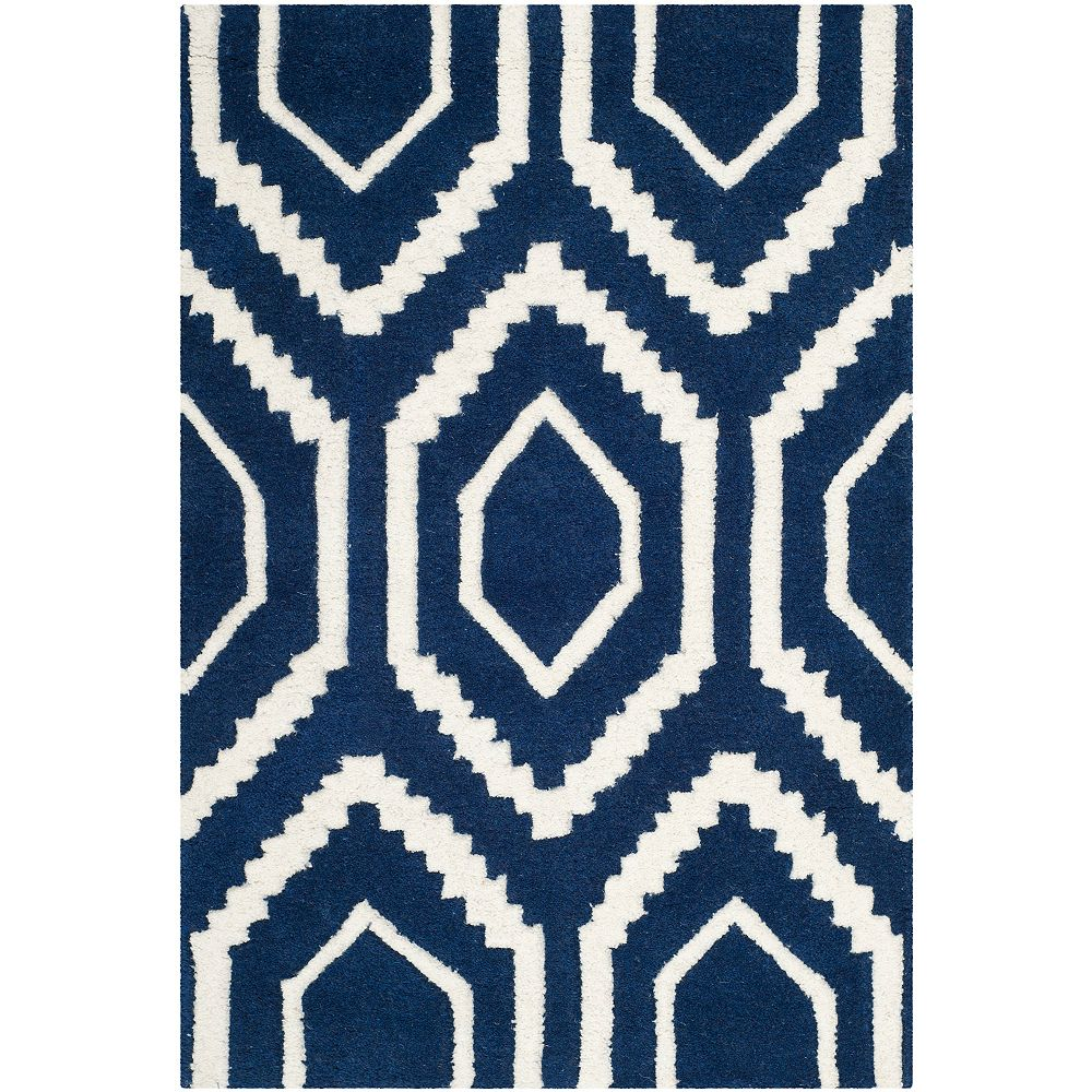 Safavieh Tapis d'intérieur, 2 pi x 3 pi, Chatham Beau, bleu foncé / ivoire
