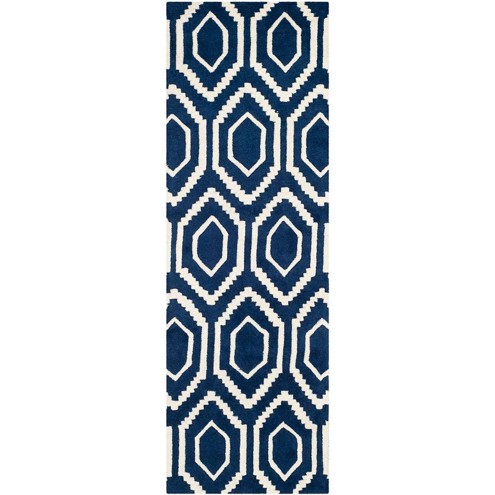 Safavieh Chatham Beau Dark Blue / Ivory 2 ft. 3 inch x 9 ft. Indoor Runner