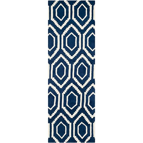 Safavieh Tapis de passage d'intérieur, 2 pi 3 po x 9 pi, Chatham Beau, bleu foncé / ivoire