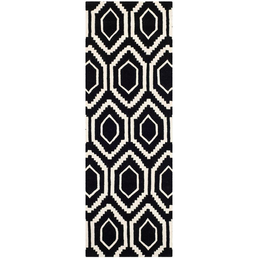 Safavieh Tapis de passage d'intérieur, 2 pi 3 po x 5 pi, Chatham Beau, noir / ivoire