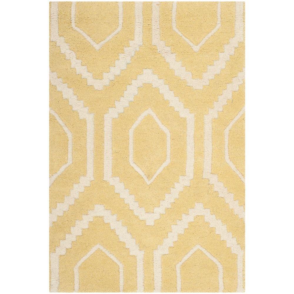 Safavieh Tapis d'intérieur, 2 pi x 3 pi, Chatham Beau, or clair / ivoire
