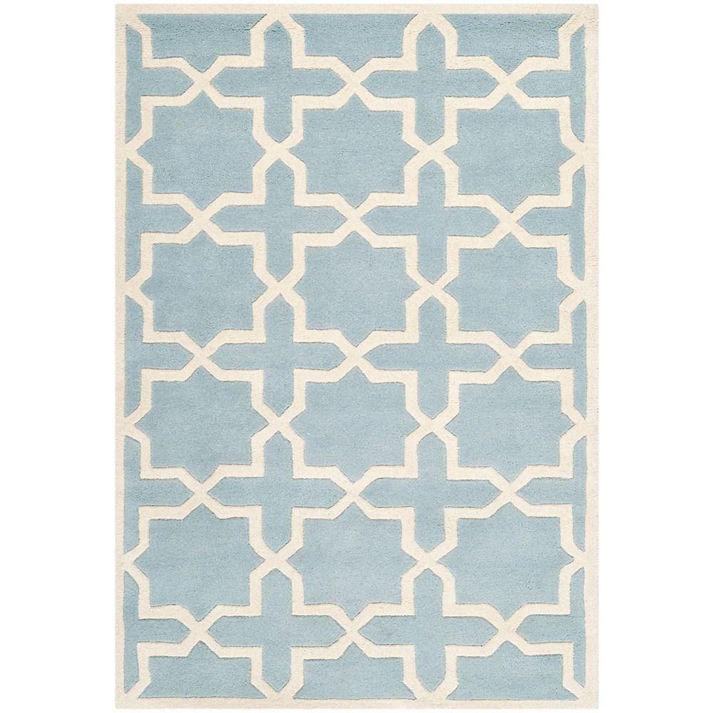 Safavieh Tapis d'intérieur, 4 pi x 6 pi, Chatham Carlton, bleu / ivoire