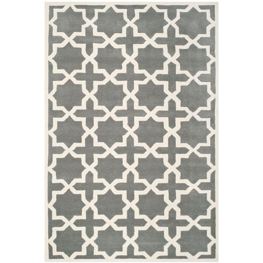 Safavieh Tapis d'intérieur, 6 pi x 9 pi, Chatham Carlton, dark gris / ivoire