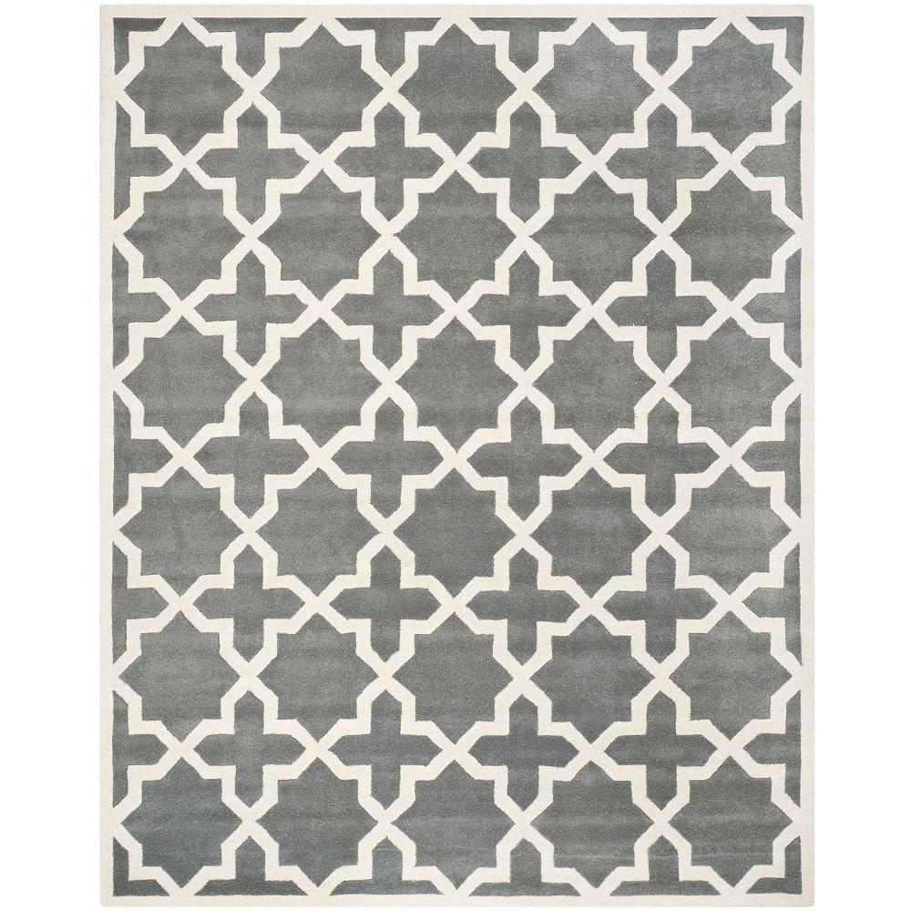 Safavieh Tapis d'intérieur, 8 pi x 10 pi, Chatham Carlton, dark gris / ivoire