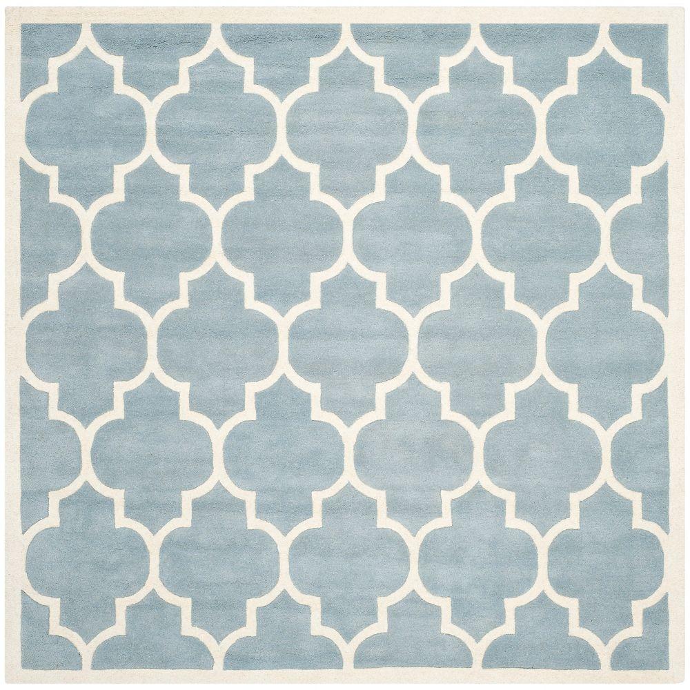 Safavieh Tapis d'intérieur carré, 7 pi x 7 pi, Chatham Caprice, bleu / ivoire