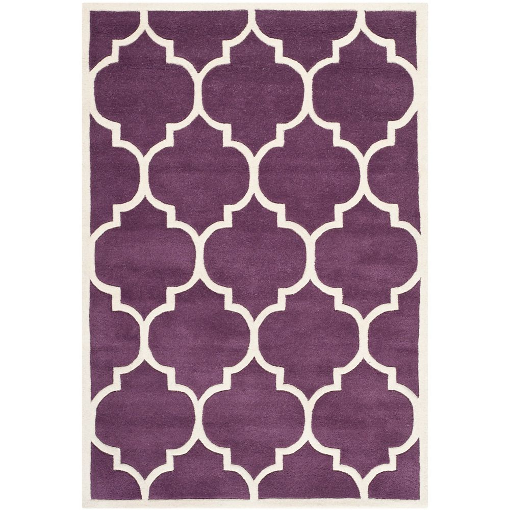 Safavieh Chatham Caprice Purple Ivory 4 Ft X 6 Ft Indoor Area Rug The Home Depot Canada