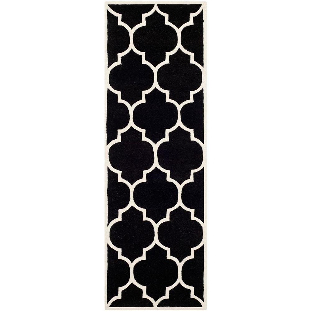 Safavieh Chatham Caprice Black / Ivory 2 ft. 3 inch x 7 ft. Indoor Runner