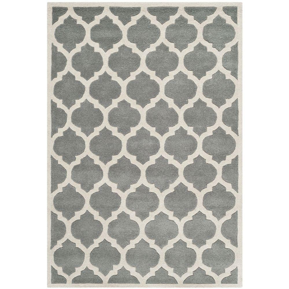 Safavieh Tapis d'intérieur, 4 pi x 6 pi, Chatham Candace, dark gris / ivoire