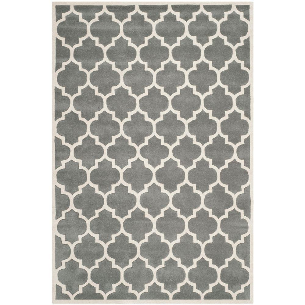 Safavieh Tapis d'intérieur, 6 pi x 9 pi, Chatham Candace, dark gris / ivoire