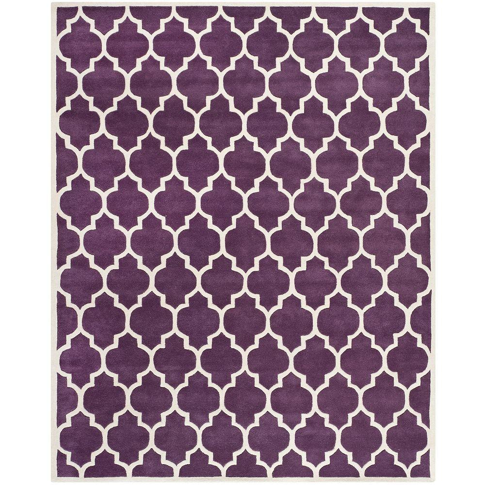 Safavieh Tapis d'intérieur, 8 pi x 10 pi, Chatham Candace, violet / ivoire