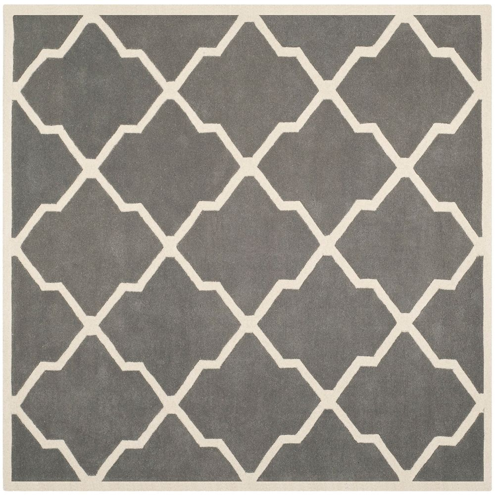 Safavieh Chatham Stephen Dark Grey / Ivory 7 ft. x 7 ft. Indoor Square Area Rug