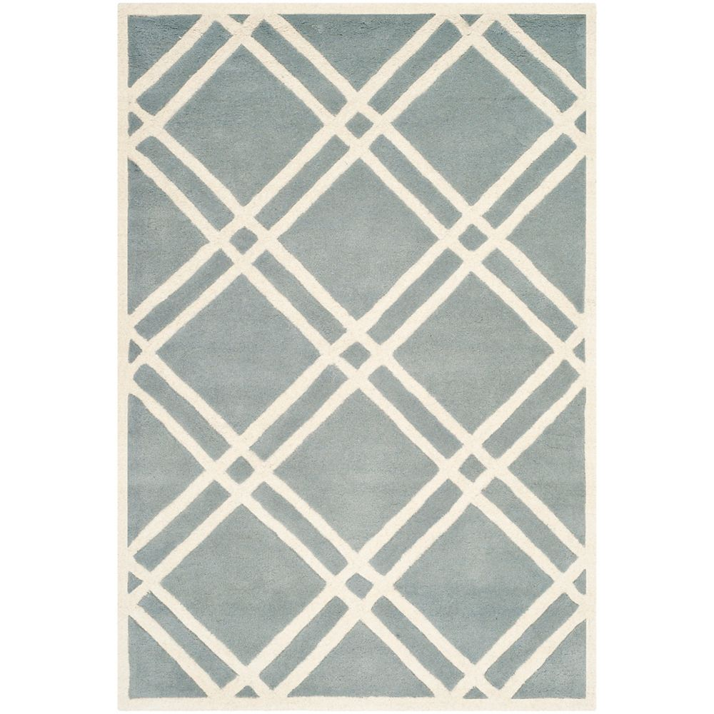 Safavieh Tapis d'intérieur, 5 pi x 8 pi, Chatham Patrick, bleu / ivoire