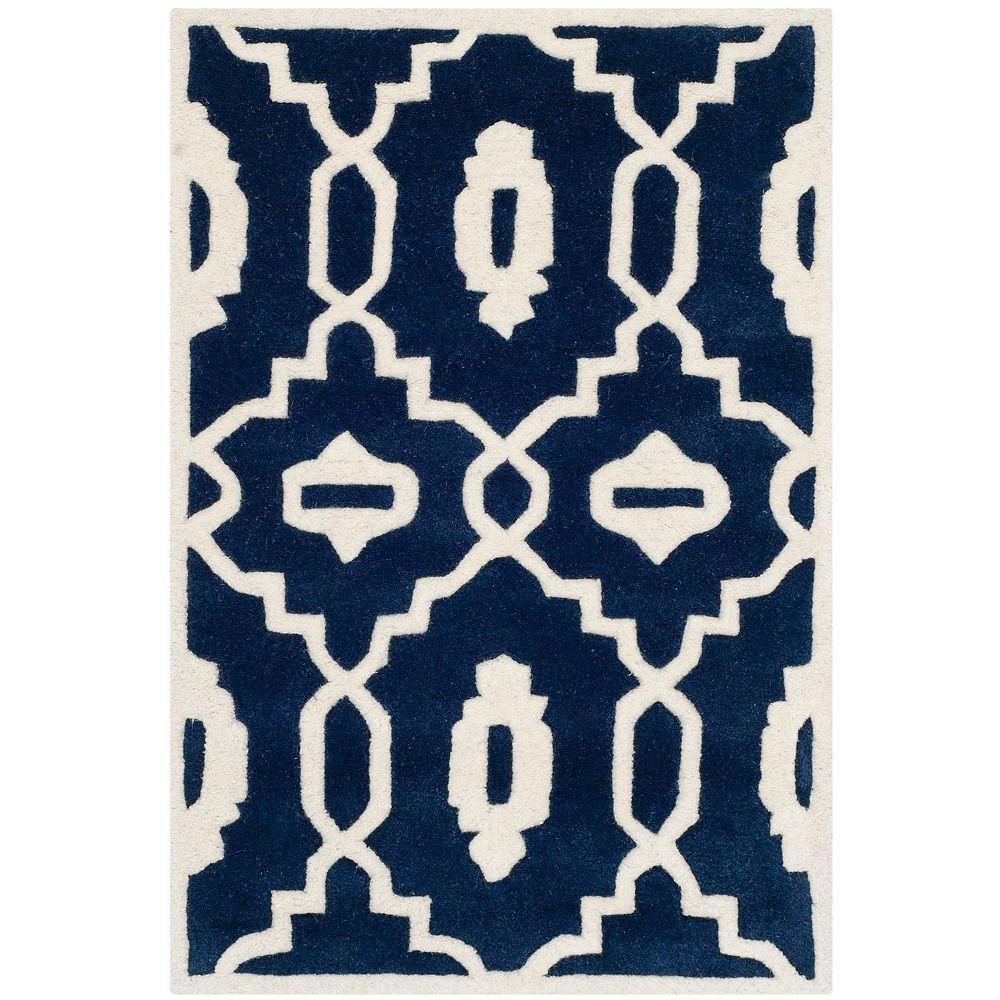 Safavieh Tapis d'intérieur, 2 pi x 3 pi, Chatham Chloe, bleu foncé / ivoire