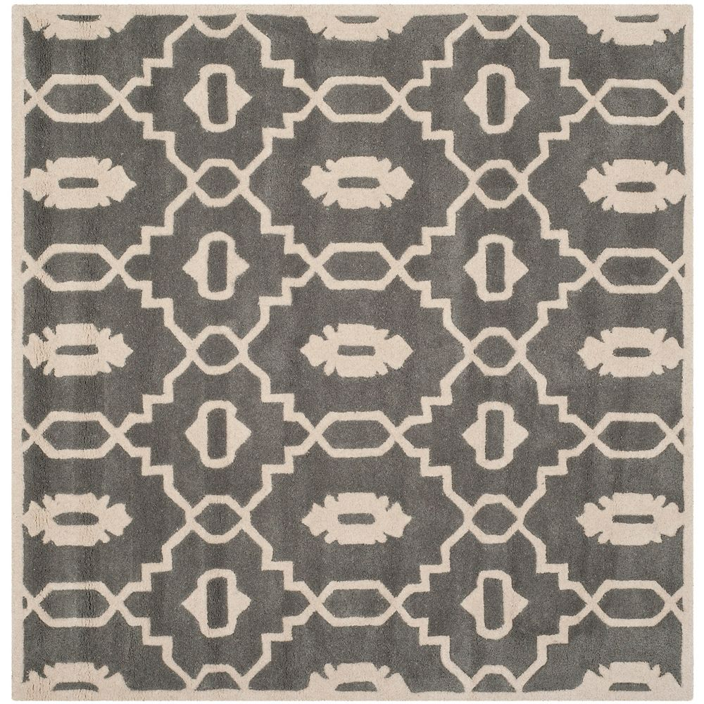 Safavieh Chatham Chloe Dark Grey / Ivory 5 ft. x 5 ft. Indoor Square Area Rug