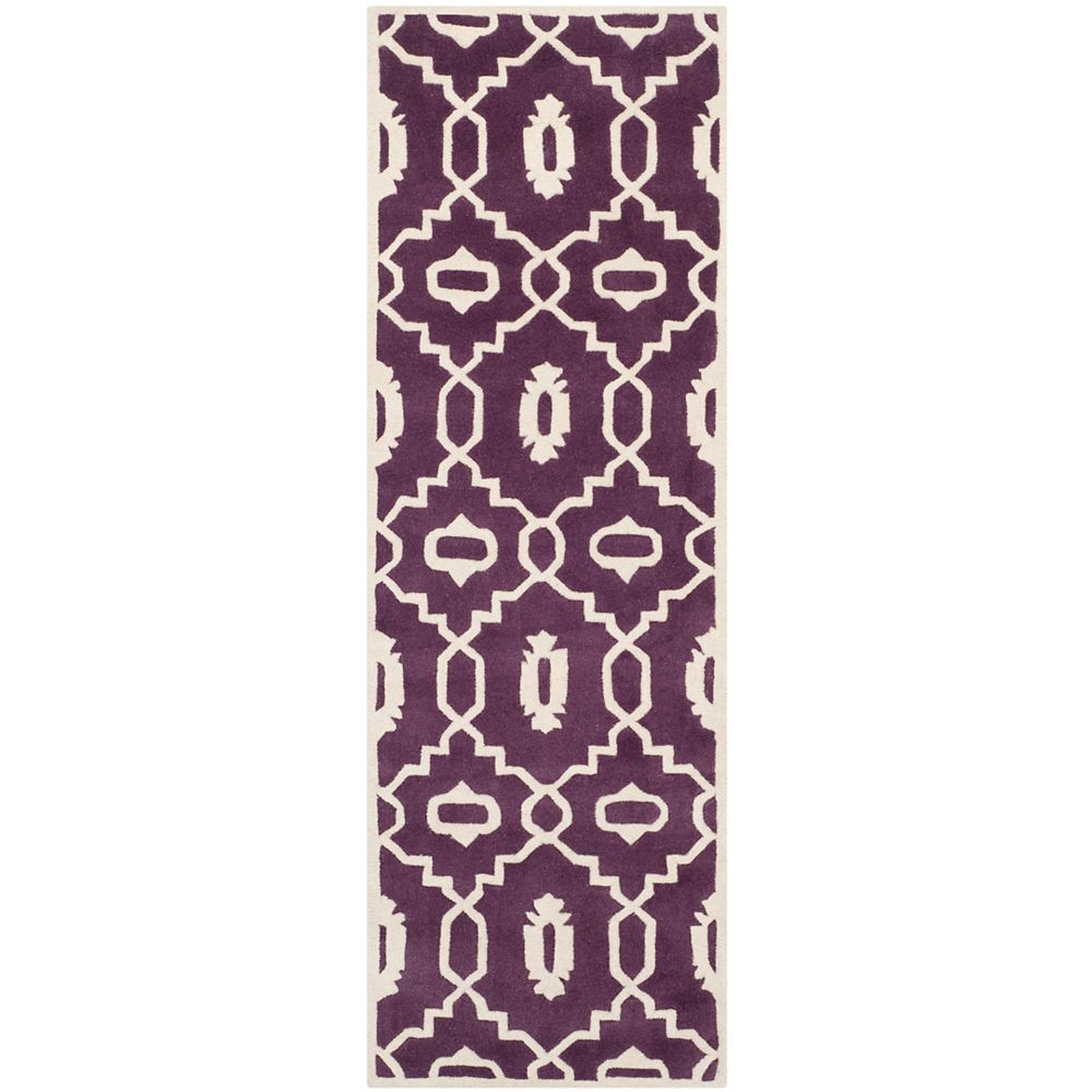 Safavieh Chatham Chloe Purple / Ivory 2 ft. 3 inch x 7 ft. Indoor Runner