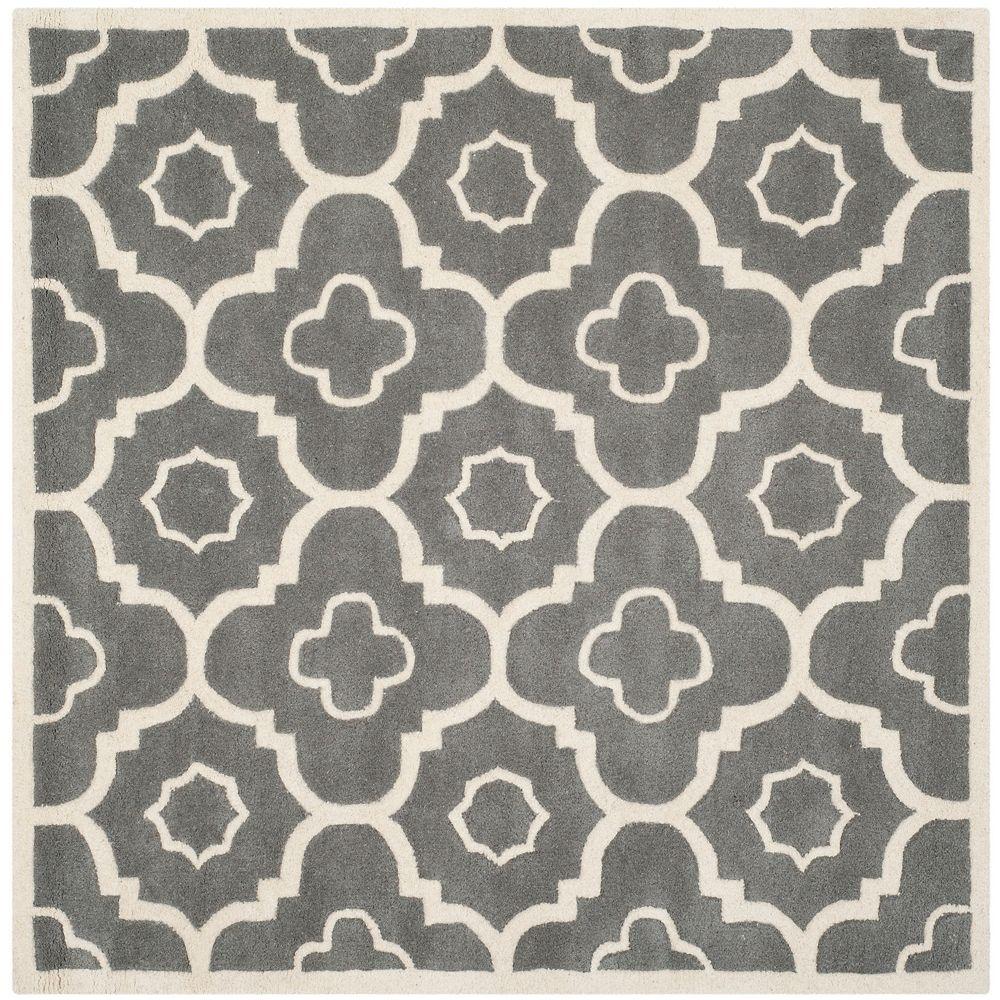Safavieh Tapis d'intérieur carré, 5 pi x 5 pi, Chatham Dedrick, dark gris / ivoire