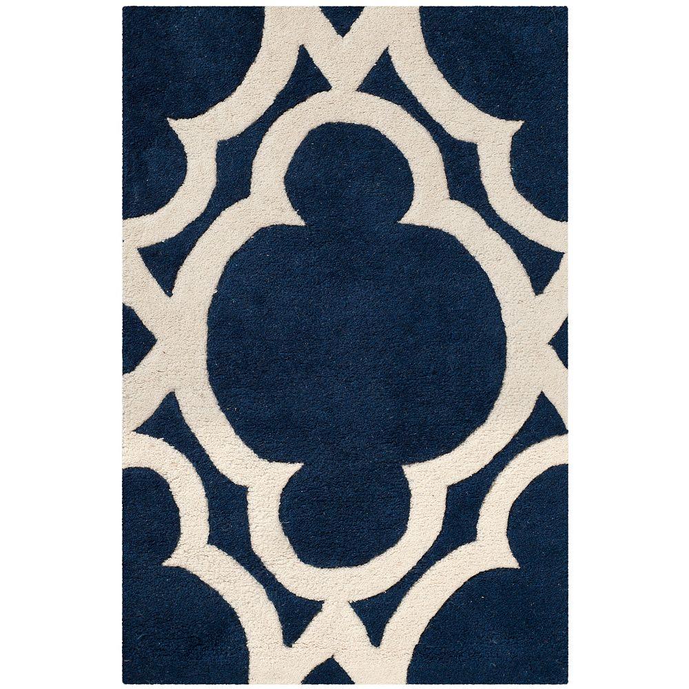 Safavieh Tapis d'intérieur, 2 pi x 3 pi, Chatham Justine, bleu foncé / ivoire