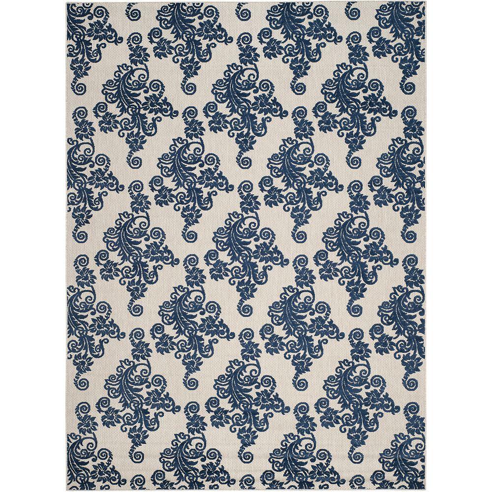 Safavieh Tapis d'intérieur/extérieur, 8 pi x 11 pi, Cottage Hector, gris clair / royal bleu