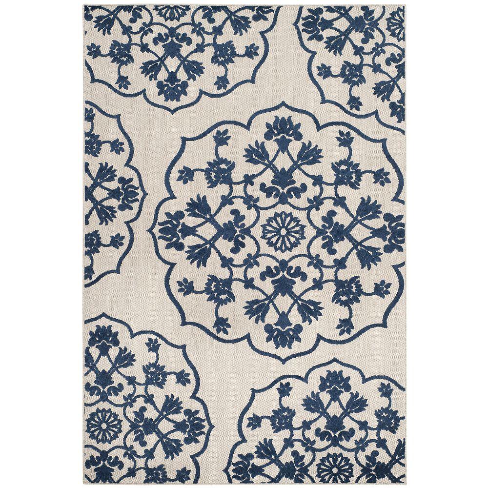 Safavieh Tapis d'intérieur/extérieur, 4 pi x 6 pi, Cottage Cynthia, gris clair / royal bleu