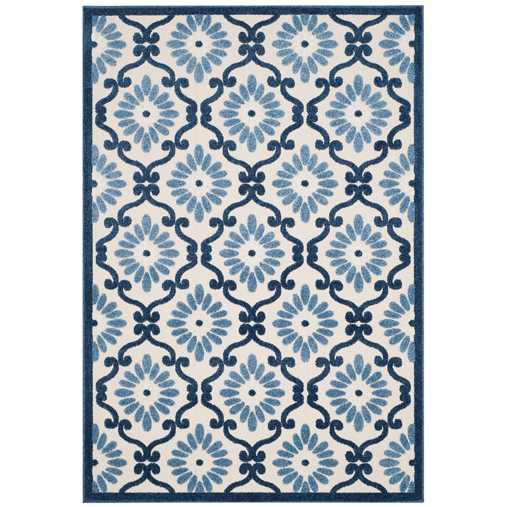 Safavieh Cottage Salazar Ivory / Blue 6 ft. 7 inch x 9 ft. 6 inch Indoor/Outdoor Area Rug