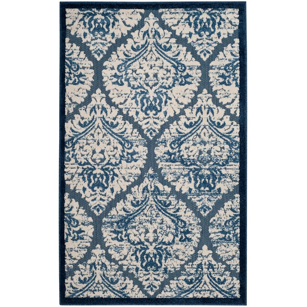 Safavieh Cottage Omar Blue / Cream 3 ft. 3 inch x 5 ft. 3 inch Indoor/Outdoor Area Rug