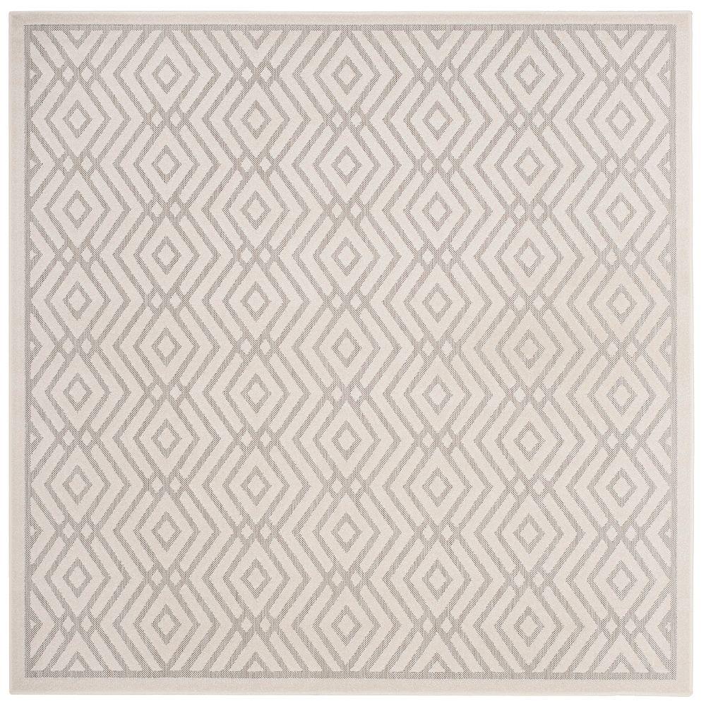 Safavieh Tapis d'intérieur/extérieur carré, 6 pi 7 po x 6 pi 7 po, Cottage Andrew, gris clair / crème