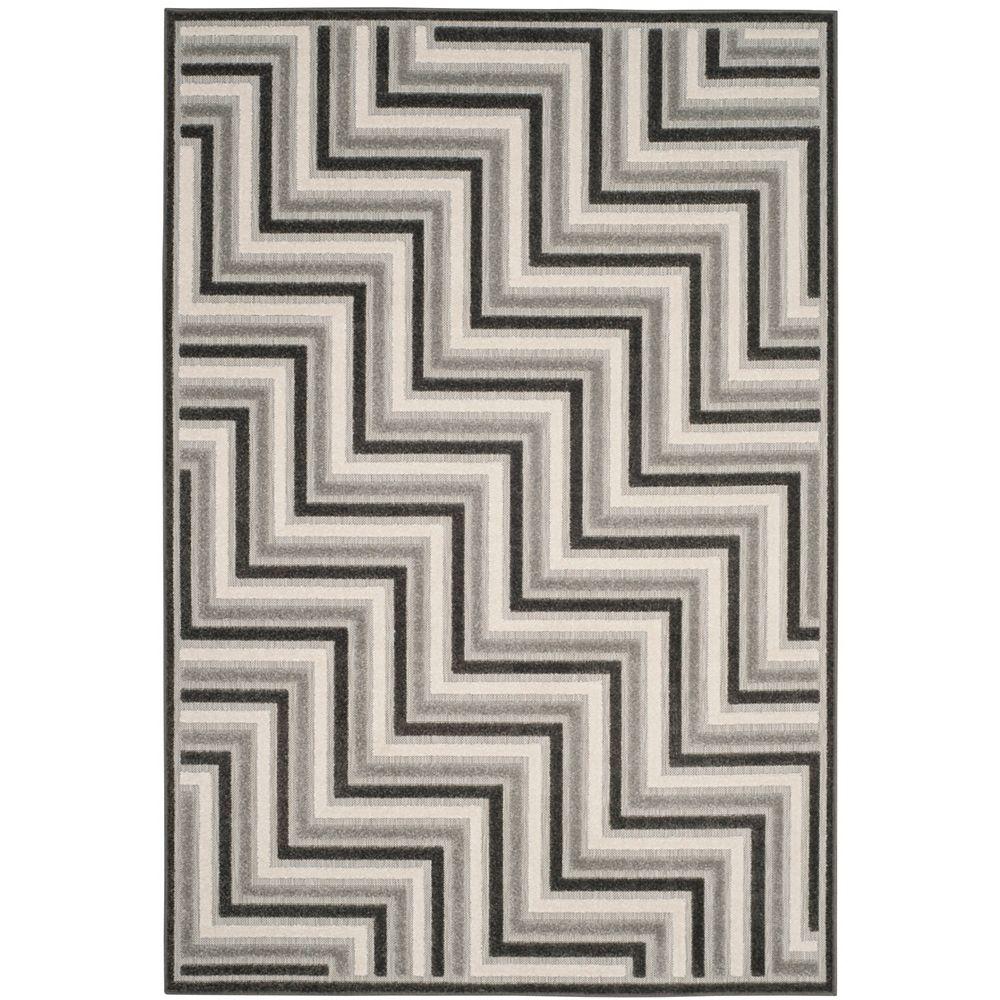 Safavieh Tapis d'intérieur/extérieur, 5 pi 3 po x 7 pi 7 po, Cottage Norton, dark gris / gris clair