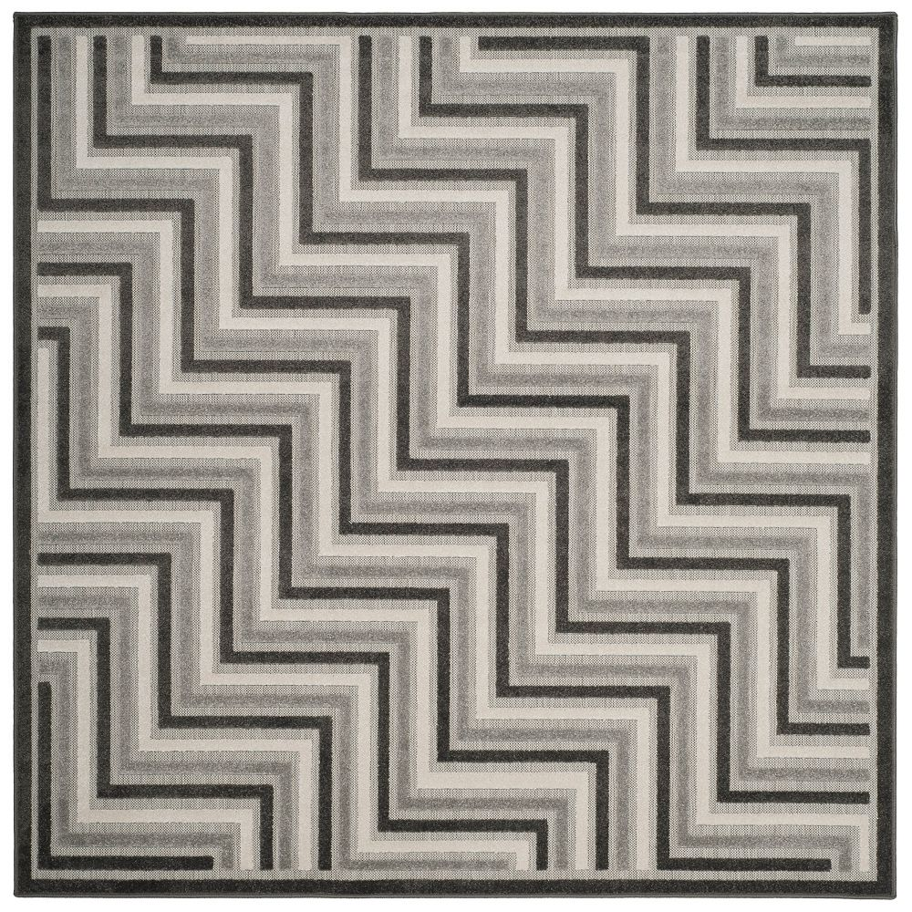 Safavieh Cottage Norton Dark Grey / Light Grey 6 ft. 7 inch x 6 ft. 7 inch Indoor/Outdoor Square Area Rug
