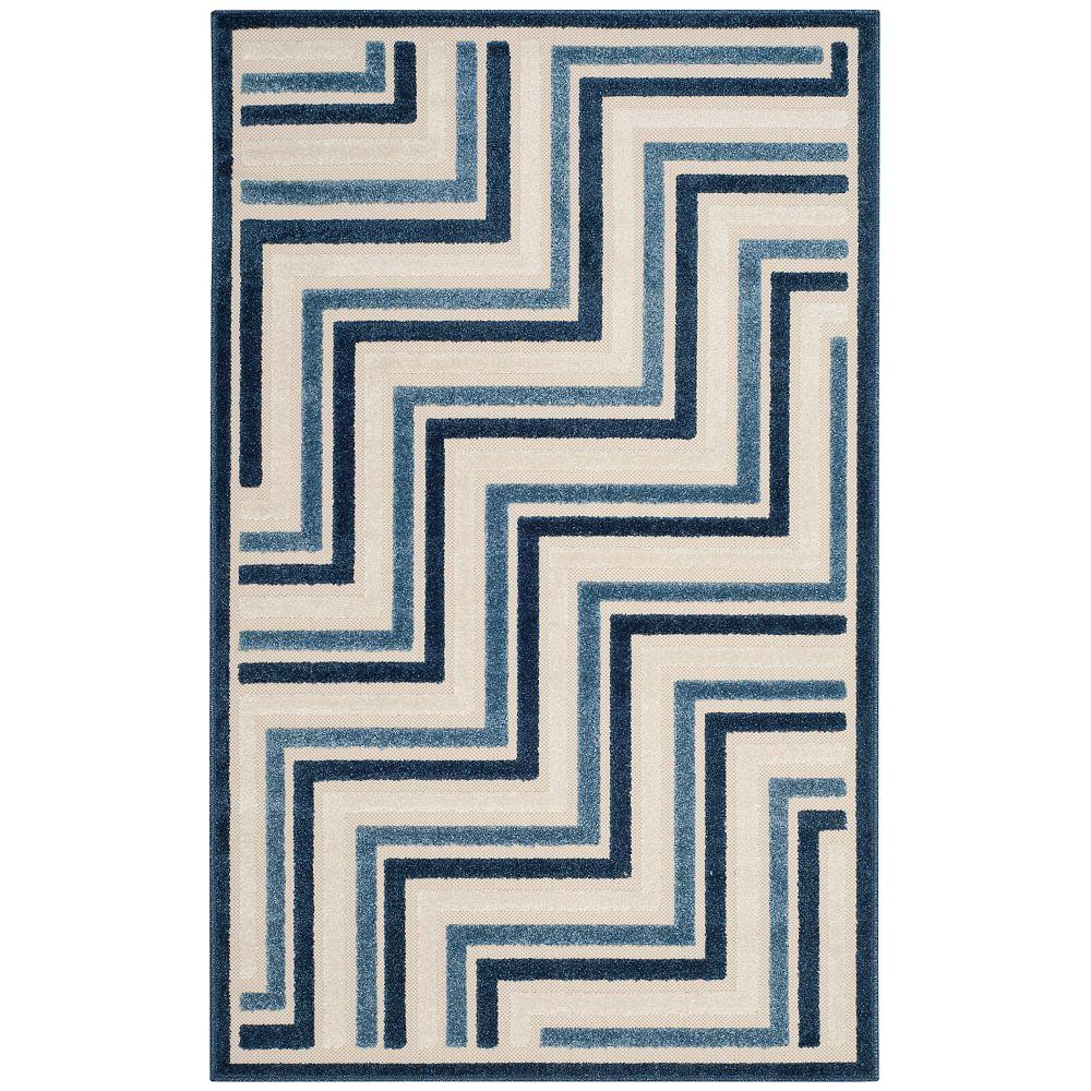 Safavieh Tapis d'intérieur/extérieur, 3 pi 3 po x 5 pi 3 po, Cottage Norton, crème / bleu