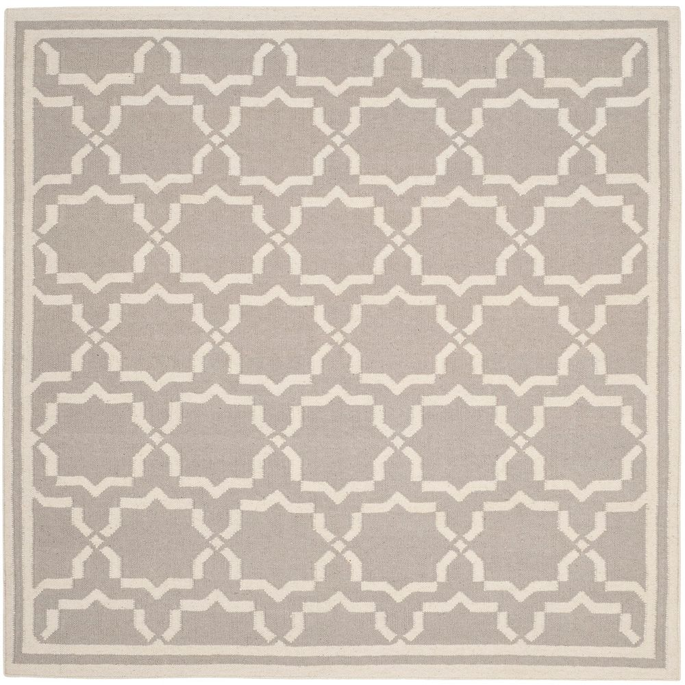 Safavieh Dhurries Nader Grey / Ivory 6 ft. x 6 ft. Indoor Square Area Rug