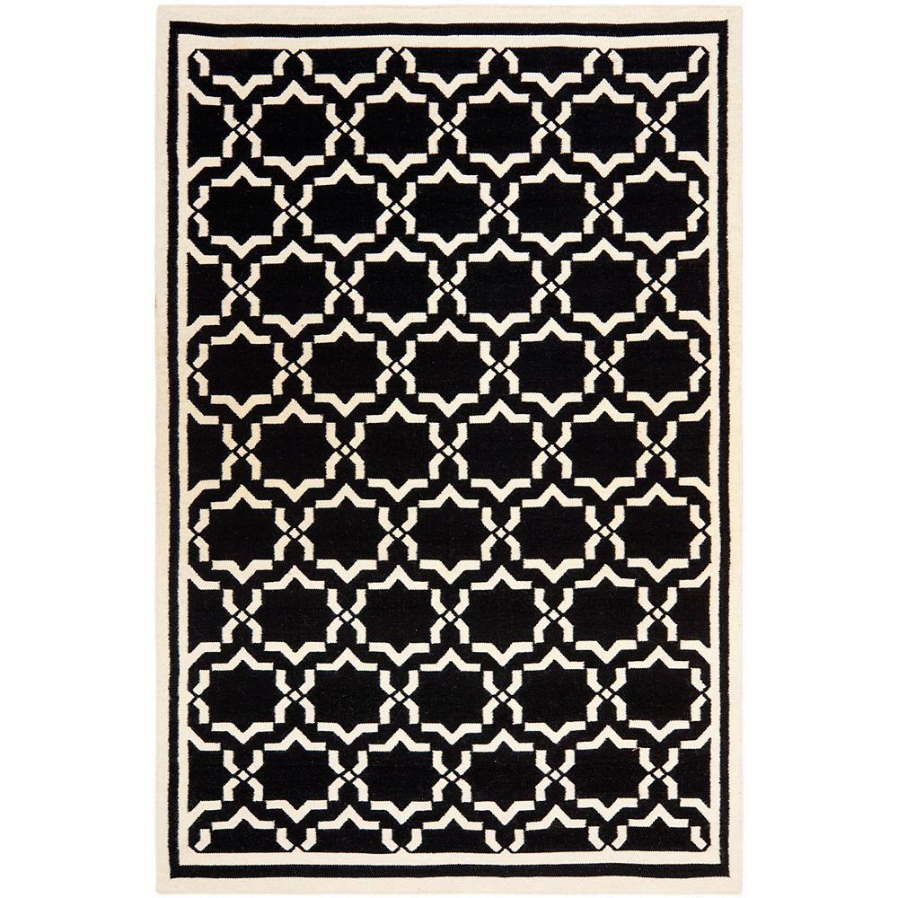 Safavieh Dhurries Nader Black / Ivory 6 ft. x 9 ft. Indoor Area Rug