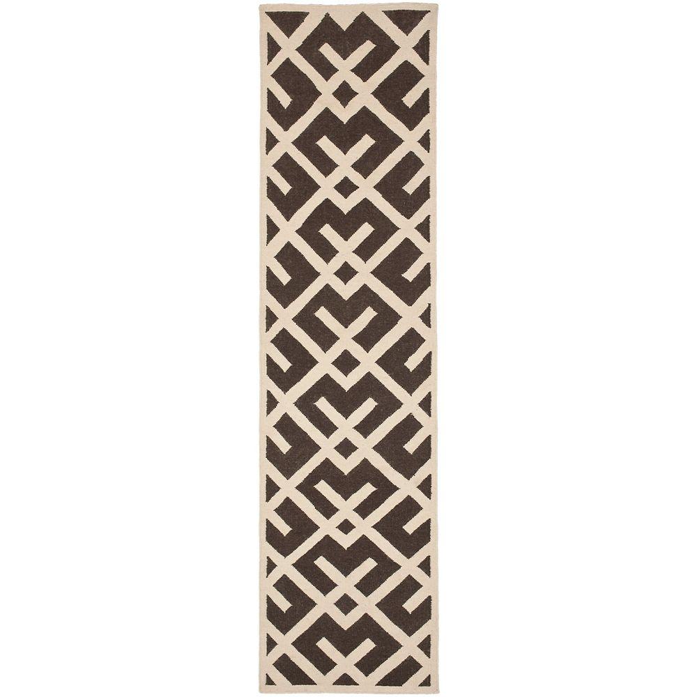 Safavieh Tapis de passage d'intérieur, 2 pi 6 po x 8 pi, Dhurries Iris, brun / ivoire