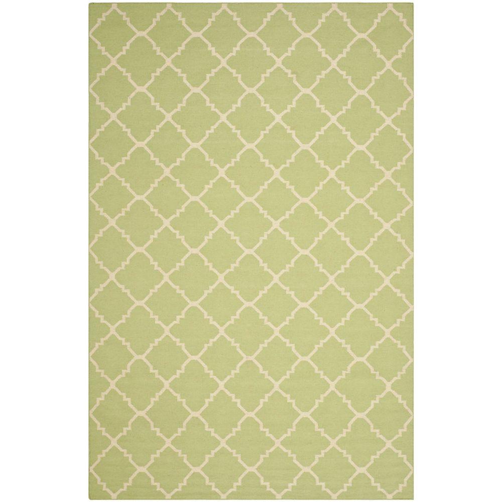 Safavieh Tapis d'intérieur, 6 pi x 9 pi, Dhurries Franz, vert clair / ivoire