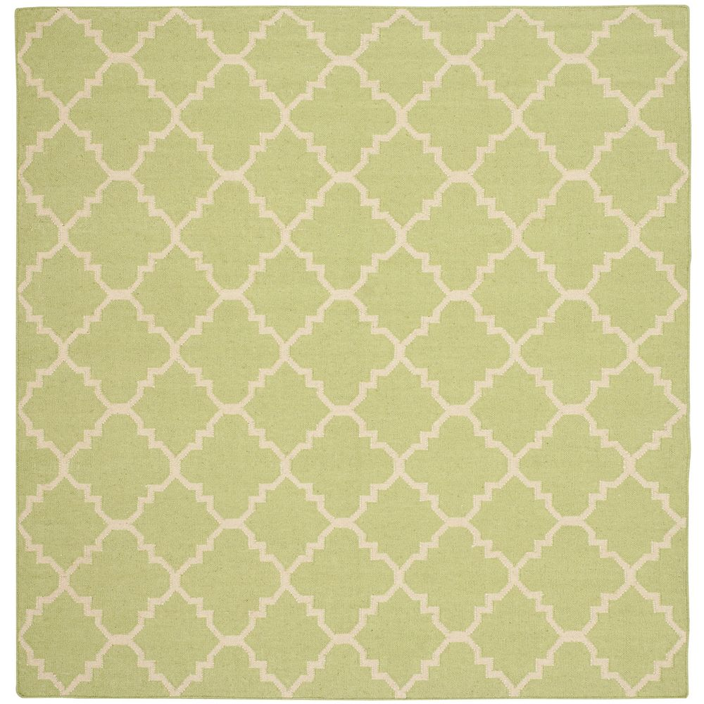 Safavieh Dhurries Franz Light Green / Ivory 6 ft. x 6 ft. Indoor Square Area Rug