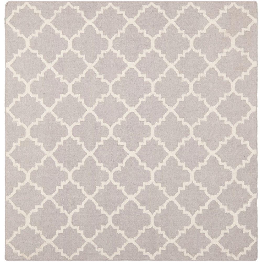 Safavieh Tapis d'intérieur carré, 8 pi x 8 pi, Dhurries Franz, gris / ivoire