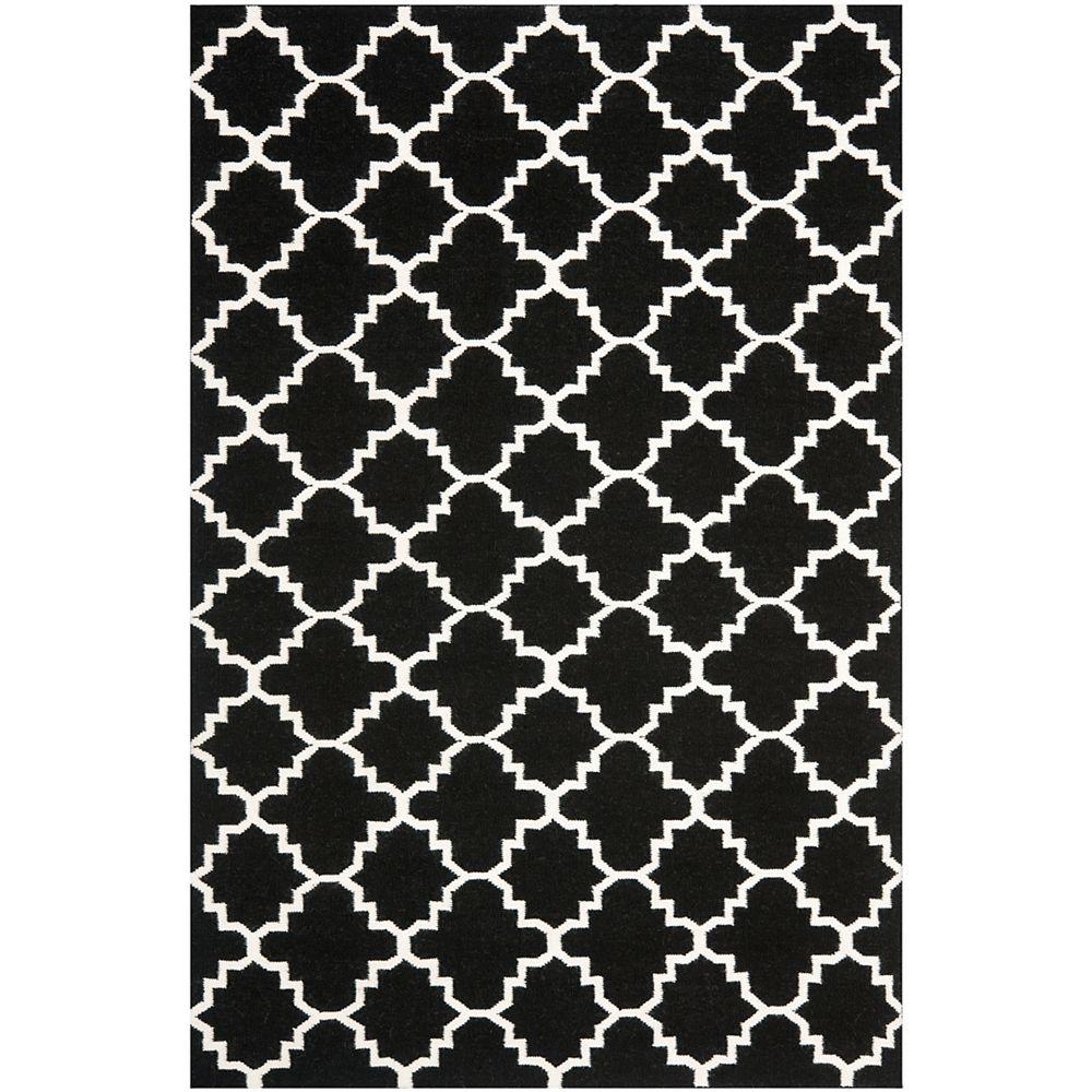 Safavieh Tapis d'intérieur, 6 pi x 9 pi, Dhurries Franz, noir / ivoire