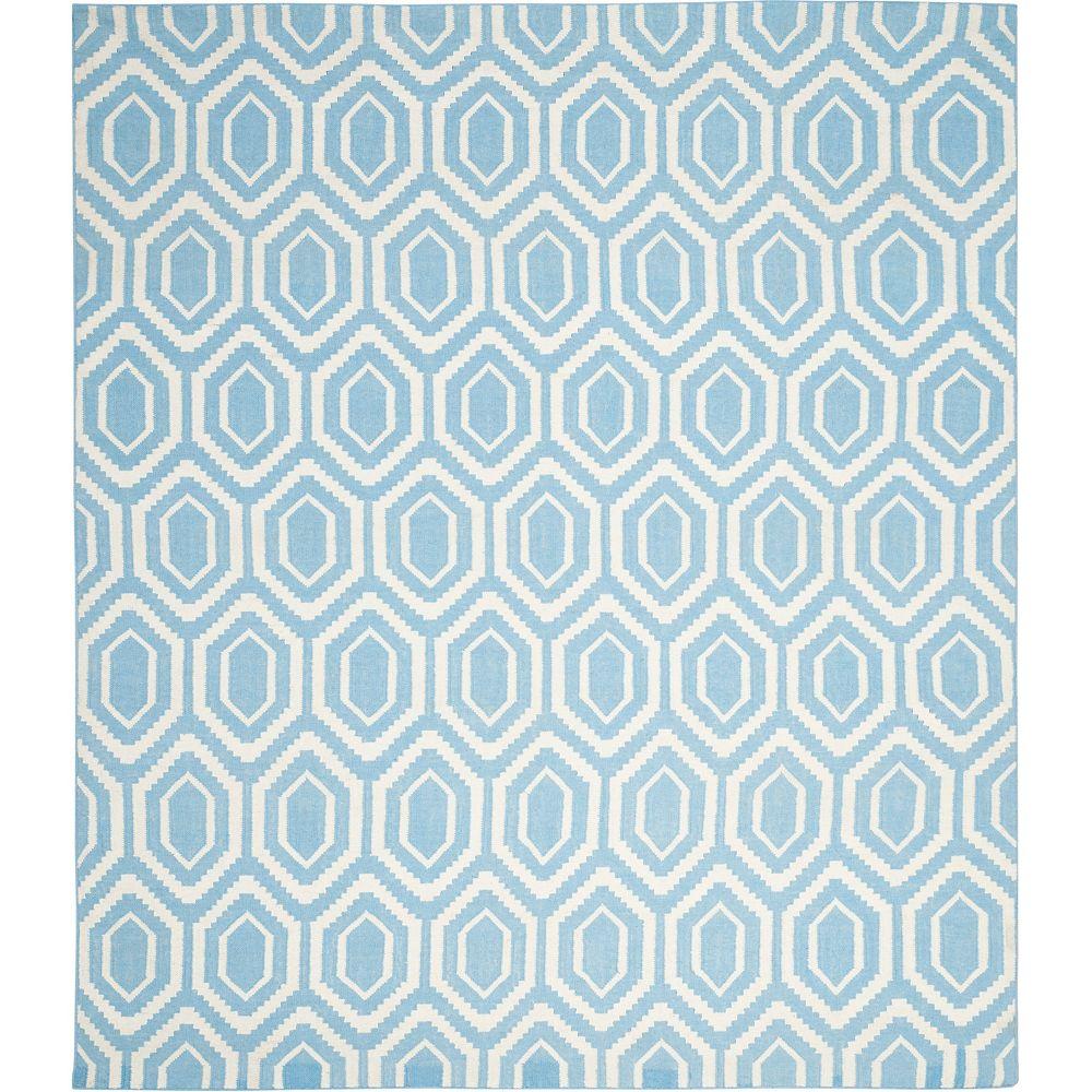 Safavieh Tapis d'intérieur, 8 pi x 10 pi, Dhurries Nikola, bleu / ivoire