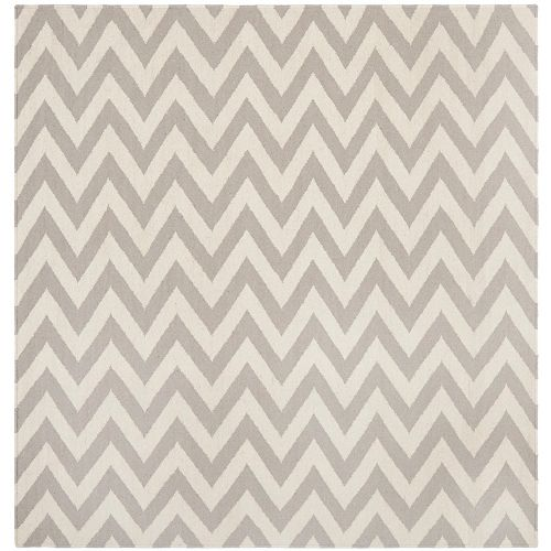 Safavieh Dhurries Ash Grey / Ivory 8 ft. x 8 ft. Indoor Square Area Rug