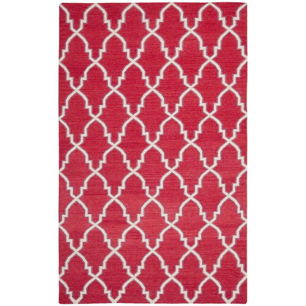 Safavieh Tapis d'intérieur, 5 pi x 8 pi, Dhurries Grace, rouge / ivoire