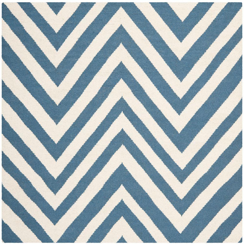 Safavieh Tapis d'intérieur carré, 8 pi x 8 pi, Dhurries Mariah, bleu / ivoire