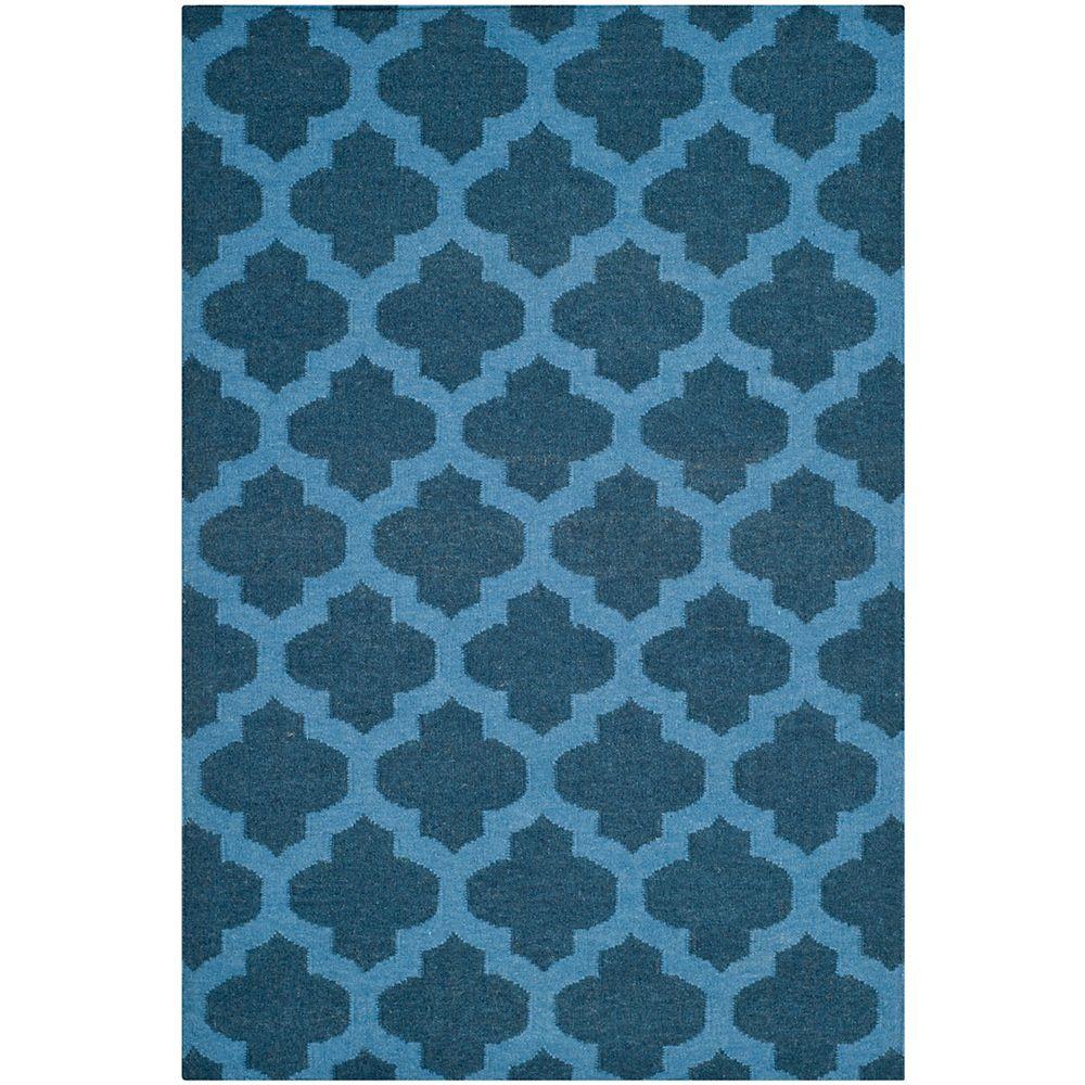 Safavieh Tapis d'intérieur, 4 pi x 6 pi, Dhurries Jean, ink / bleu