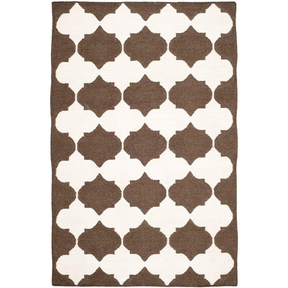 Safavieh Tapis d'intérieur, 5 pi x 8 pi, Dhurries Jackie, brun / ivoire